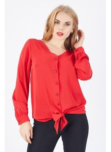 Sense Sense  Eteği Kuşaklı Manşetli Önü Düğmeli Bluz  Blz  Kırmızı